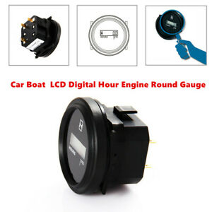 "Car Truck LCD Digital Hour Meter Marine Boat Engine 2"" Round Gauge Plastic Black"