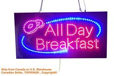 All Day Breakfast Sign, TOPKING Signage, LED Neon Open, Store, Window, Shop