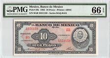 New ListingMexico 1965 P-58k Pmg Gem Unc 66 Epq 10 Pesos