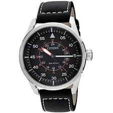 Citizen Eco-Drive Aviator AW1360-04E Black Leather Strap Solar Mens Analog Watch