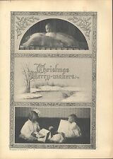 1908 Victorian Children Arrival of Christmas Beautiful Vintage Illustrations