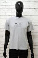 Maglia CAT Uomo Taglia Size L Maglietta Shirt Man Manica Corta Cotone Grigio