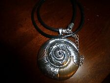 Black Cord Necklace Beautiful Silver Medallion On