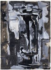 "James Coughlin (Californian, 1926-1979) ""Column"" Oil on Paper"