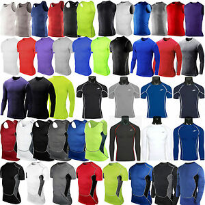 Men Compression Tight Tops Base Layer Simplicity Athletic Training Gym Casual