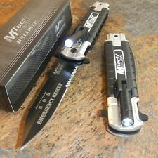 MTECH Silver EMT EMS Spring Assisted Open LED Tactical Rescue Pocket Knife NEW