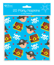 Pack 20 Childrens Birthday Party Paper Napkins - Boys Pirate Pirates