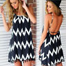 Womens Sleeveless Party Summer Beach Short Mini Dress Wavy Print Casual Sundress