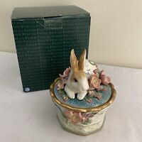 Fitz & Floyd Garden Rhapsody Rabbit Bunny Lidded Box with Original F&F Box