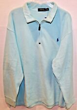 Polo Ralph Lauren Big and Tall Mens Light Aqua 1/2 Zip Cotton Sweater NWT 3XB