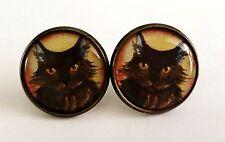 Tachas De Bronce Antigua pendientes de Gato Negro Animal Mascota de Joyas Lindo Regalo Nuevo