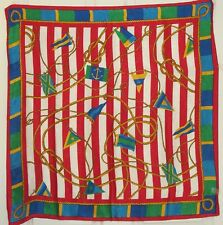 "TERRIART Red, Multi Nautical Flags, Ropes Jacquard 30"" Square Scarf-Vintage"