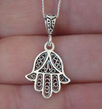 925 Sterling Silver Hamsa-Hand of Fatima Filigree Pendant Good Luck Charm