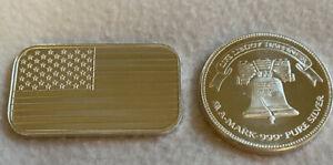 Silver Bar & Round Pair 1 Oz A Mark Liberty Bell 1985 American Flag Bar .999