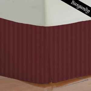 1000TC Burgundy Striped Bed Skirt Select Drop Length All US Size 100% Egy Cotton