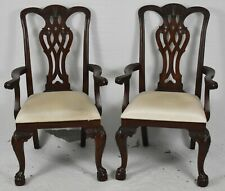 Pair Maitland Smith Mahogany Chippendale Dining Room Arm Chairs Ball Claw