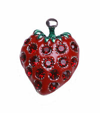 ELEGANT LADIES FRUITY THEME STRAWBERRY  RED STONE ENCRUSTED BROOCH/PIN(ZX10)