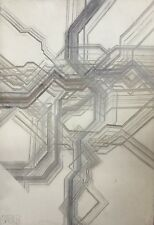 Jean-Jacques STAEBLER 1935-1995.Composition géométrique.1975.Huile/alu.SBG.73x50