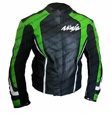 Kawasaki Black Green Leather Motorcycle Armour Jacket : All Size available KM-20