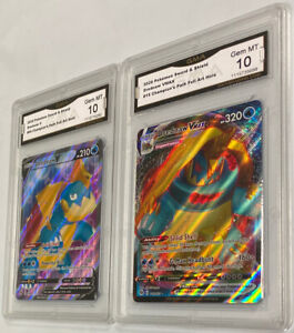 2020 Pokemon Champion's Path #15/69 Drednaw Full Art V & Vmax GMA 10 Gem Mt Lot