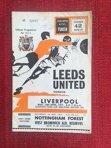 Leeds Utd v Liverpool Fairs Cup Semi Final 2nd Leg Programme, 28/4/71