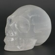 "Skull Figurine 3"" Natural Selenite Castles Gypsum Carve Crystal Healing Statue"