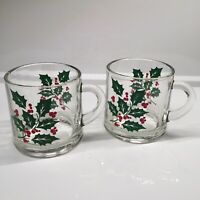 (2) Indiana Glass Co Vintage Holiday Holly Classic Christmas Eggnog Coffee Mugs