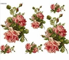VinTaGe IMaGe XL KLeiN DouBLe PinK CaBbaGe RoSe SWaGs SHaBbY WaTerSLiDe DeCALs