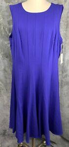 Calvin Klein Royal Blue Sleeveless FLARED Knee DRESS sz 20W (10414) NEW
