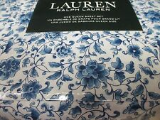 New Ralph Lauren 100% Cotton 4pc White Blue Floral Sheet Set - Queen