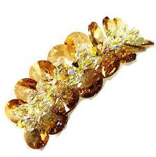 USA BARRETTE using Swarovski Crystal Hair Clip Hairpin Bridal Wedding Brown 01