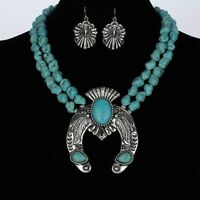 SQUASH BLOSSOM engraved detailed necklace set in turquoise   14 inch adj.