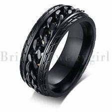 8mm Mens Stainless Steel Spinner Chain Rings Fidget Ring Wedding Band Size 7-11