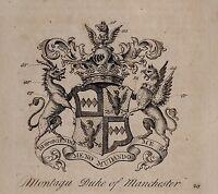 1779 Antico Stampa ~Montagu~ Famiglia Crest Cappotto Di Braccia Duca Manchester