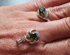 925er Silber Russischer Diopsid - Ring (17) + Anhänger für Halskette  Juwelo