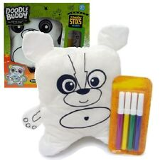 CHILDREN'S KIDS DOODLE BUDDY COLOURING IN TEDDY BEAR TOY PILLOW CUSHION TOY