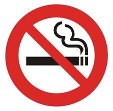 Logotipo de no fumadores Redondo Circular Auto Adhesivo Pegatinas Etiquetas Signos Paquete de 10