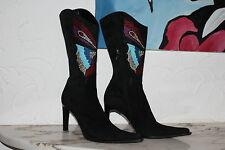Le Silla bottes talons-hauts bijoux-Perle-papillon Rivets Cuir Taille 39 (40)
