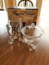 """""""Kimberly""""  Footed Sugar And Creamer Set - Mouth Blown Glass"""