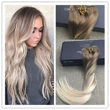 Balayage Blonde Clip in Human Hair Extension 100% European Hair Extension 100g