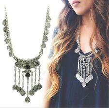 Women Fashion Tribal Boho Choker Antique Silver Bohemian Turkish Coin Necklace