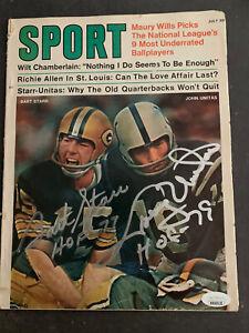 1970 SPORT MAGAZINE BART STARR JOHNNY UNITAS SIGNED BY BOTH ON COVER w/FULL JSA