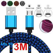 1~3m 3 kinds of Braided Charging Cable Durable Sync Data For iPhone 8 7 Android