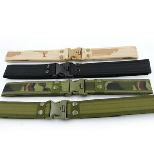 Mens Canvas Outdoor Tactical Belt Heavy Duty Waist Strap Webbing Waistband AU