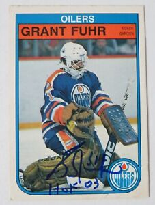 Grant Fuhr OILERS HOF Signed Autograph Auto 1982 O-Pee-Chee Rookie Card 105 JSA