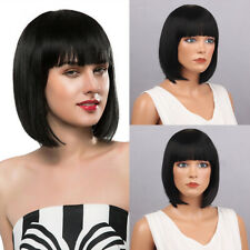 """13"""" Bob Wig Heat Resistant Bobo Hairstyle Synthetic Wigs For Women Black O9F3"""