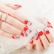 24X Red Flower Fake Nails Art Tips Nail False Full Cover Manicure Decor Glue