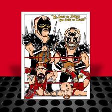 The ROAD WARRIORS vs Russians NWA ART, artist signed, ivan koloff hawk & animal