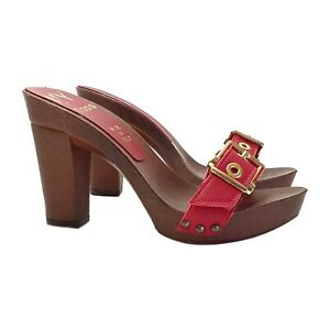 Zoccoli Headband Leather Red With Buckle Heel 10 - MY836 Red