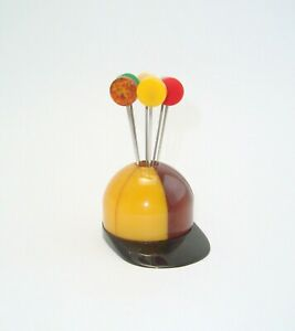 Rare Art Deco 3 Color Jockey Hat Bakelite Cocktail Pick Holder Set